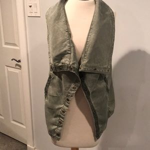 Anthropologie Marrakesh green gray vest